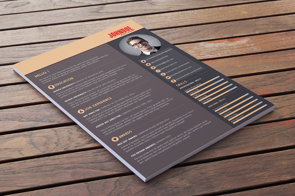 Dark Themed Free Resume Template