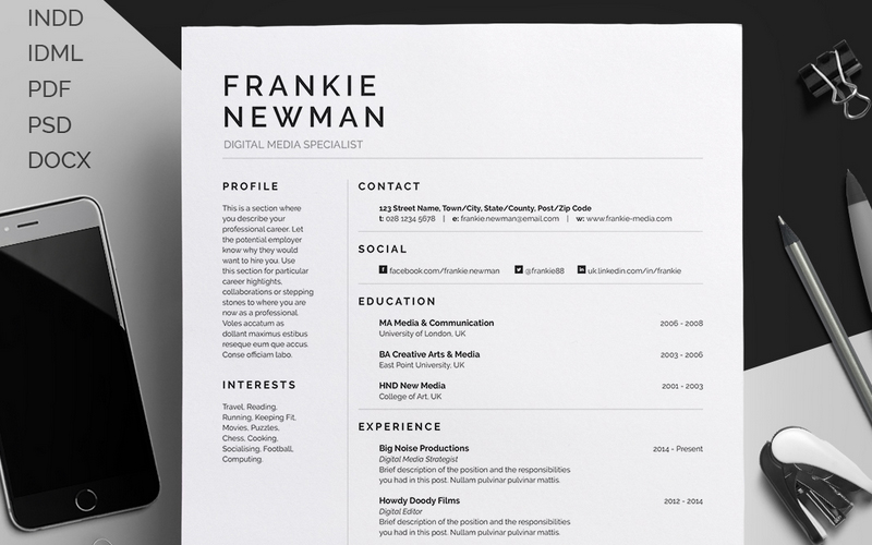 Resume/CV U2013 Frankie Newman Template  Best Resume Designs
