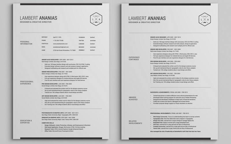 2 pages resume cv pack - Best Template For Resume
