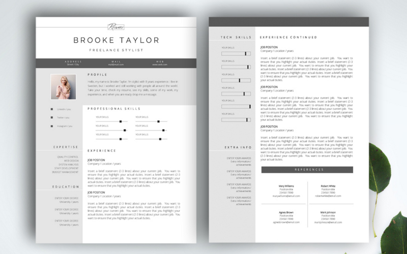 3 Page CV Template U0026 Business Card  Fonts For A Resume
