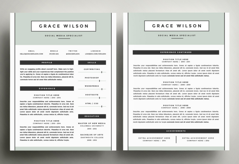 4 Pack CV Template  3 Page Resume