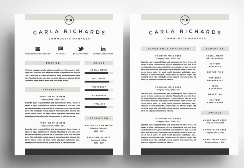 carla richards resume template - Minimalist Resume Template