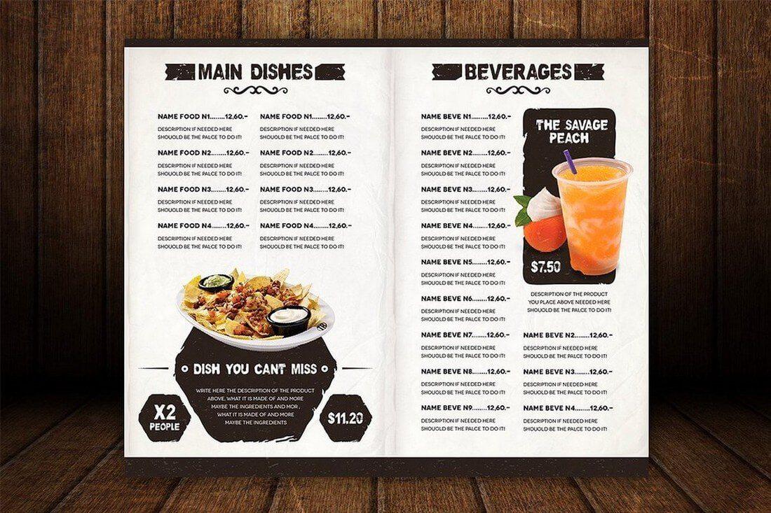 menu drink templates template shack unique ristorante articles inspiration