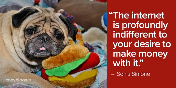 """""""The internet is profoundly indifferent to your desire to make money with it."""" – Sonia Simone"""