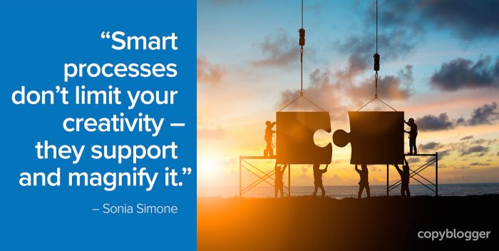 """Smart processes don't limit your creativity -- they support and magnify it."" – Sonia Simone"