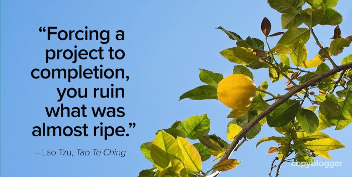 """Forcing a project to completion, you ruin what was almost ripe."" – Lao Tzu, Tao Te Ching"