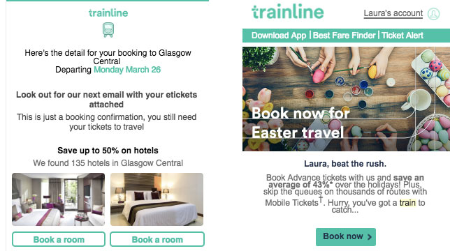 trainline transactional and marketing email examples