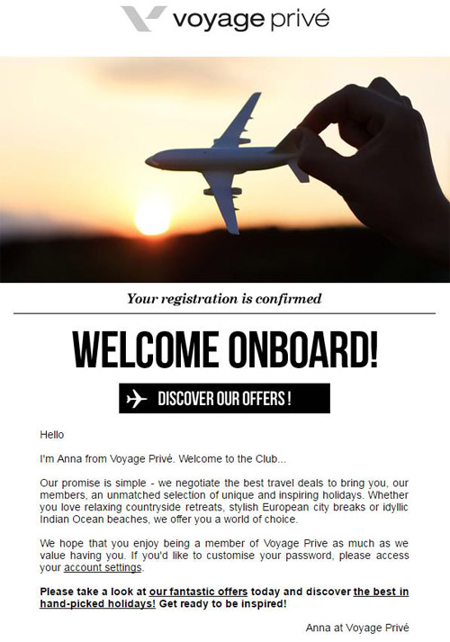 travel welcome email