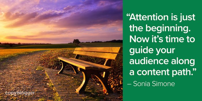 """Attention is just the beginning. Now it's time to guide your audience along a content path."" – Sonia Simone"