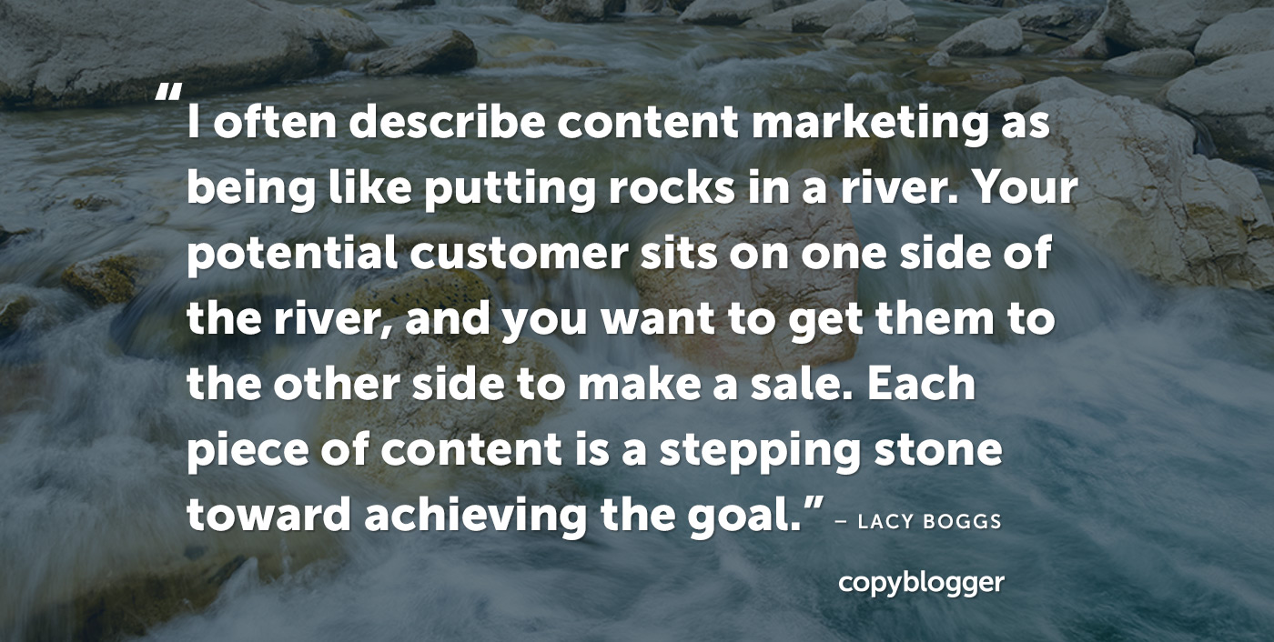 I often describe content marketing as being like putting rocks in a river. Your potential customer sits on one side of the river, and you want to get them to the other side to make a sale. Each piece of content is a stepping stone toward achieving the goal.