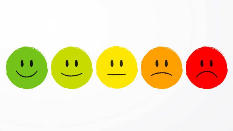 Image of smiley faces and frowny faces illustrating different mood states