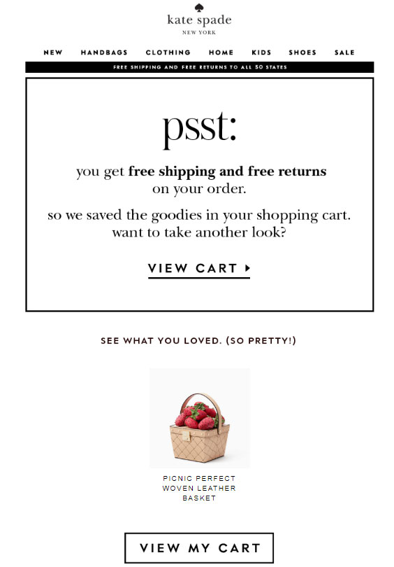 email abandonned cart example kate spade