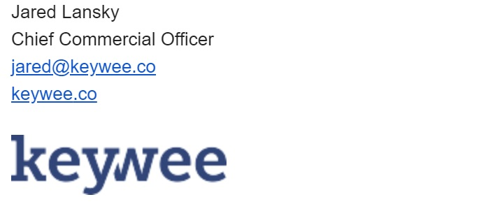 Here's an example from keywee's Chief Commercial Officer: