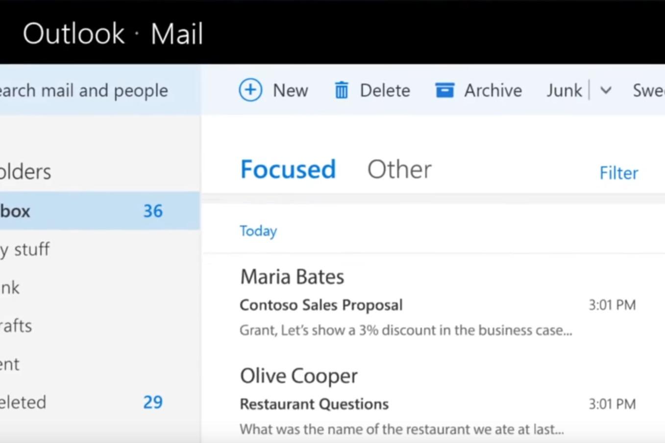 Outlook Email – Focused Inbox - Tabs