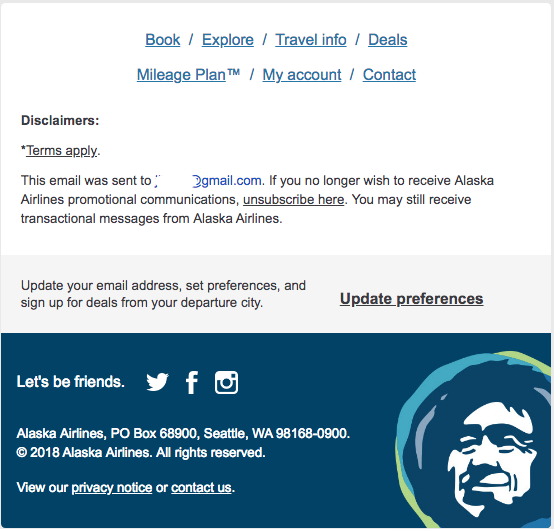 Alaska Airlines – Email Marketing – Footer with Image