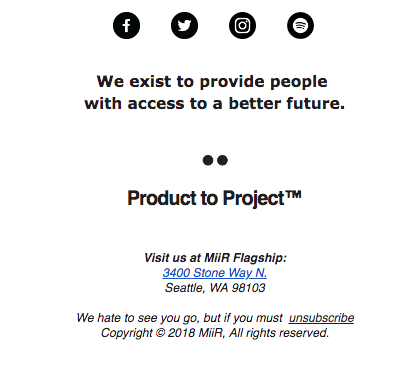Miir – Email Footer – Company Values Footer