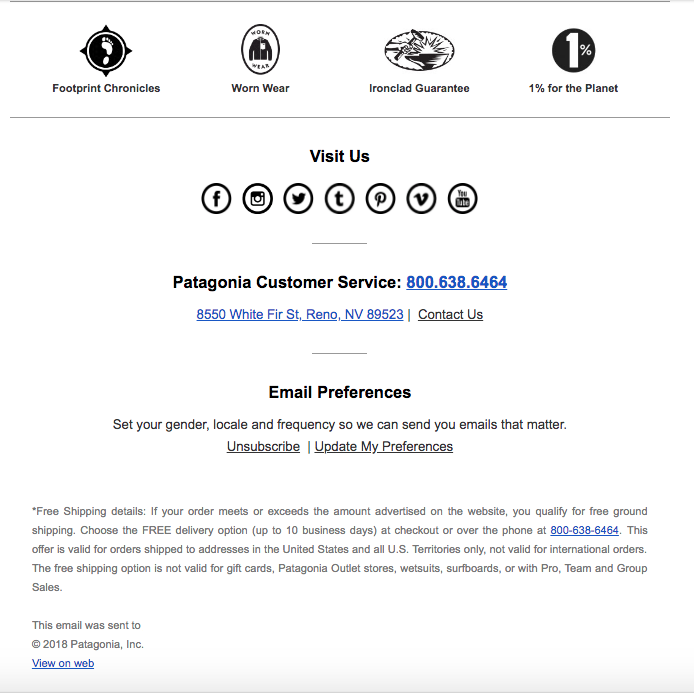 Patagonia – Email Preference Link Footer
