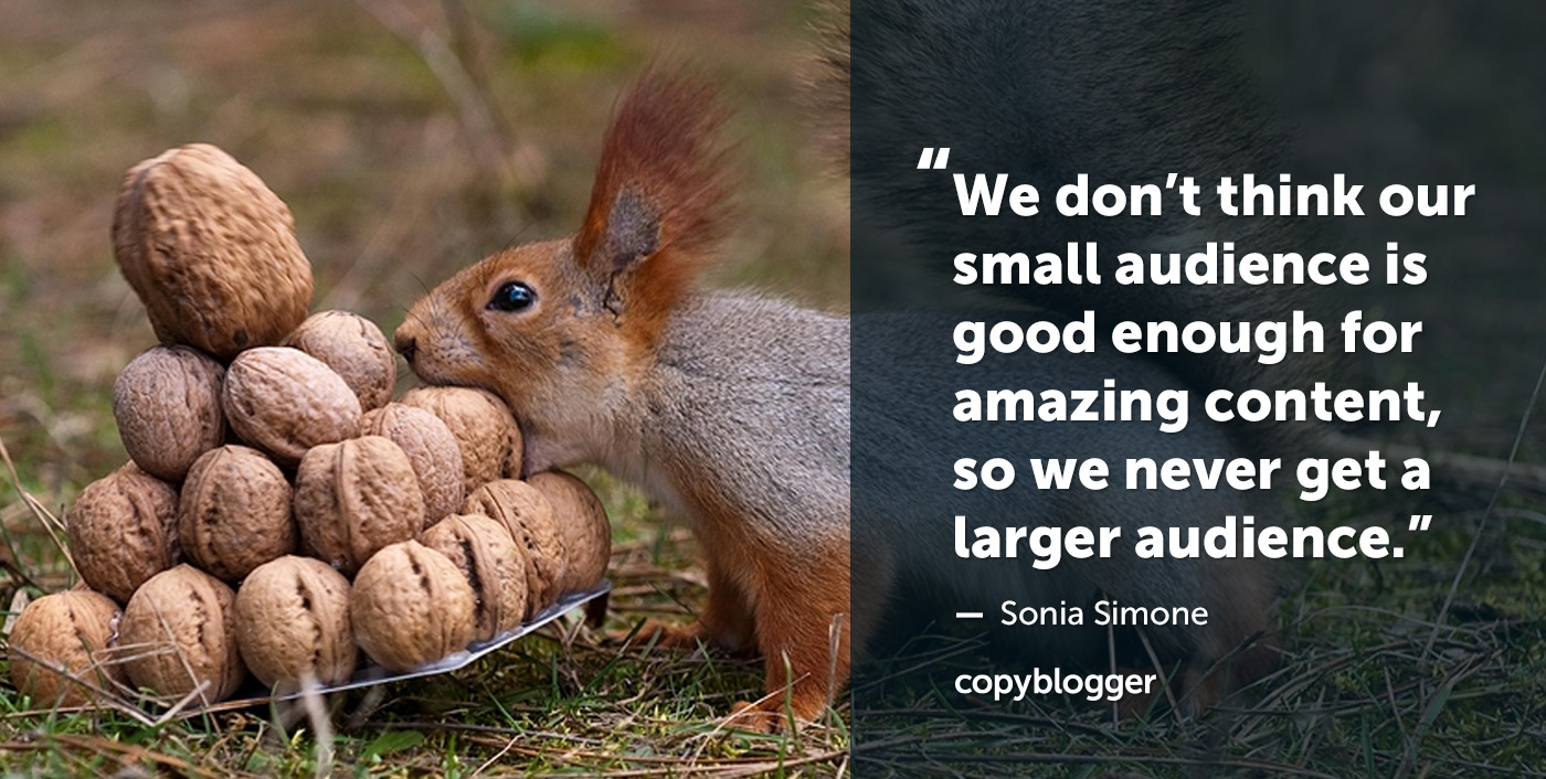 """""""We don't think our small audience is good enough for amazing content, so we never get a larger audience."""" – Sonia Simone"""