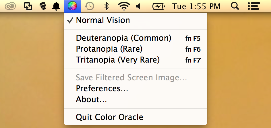 In addition to the color blindness simulator that you can use to upload images to see them through the eyes of specific color blindness types, Mac users can install an app called Color Oracle.