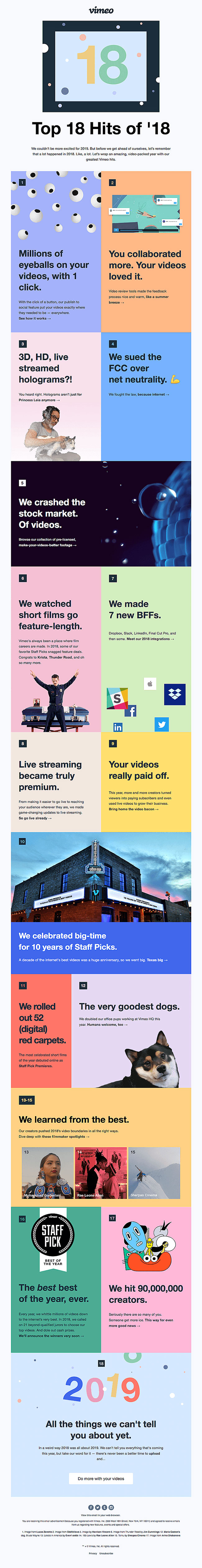 Vimeo's themed newsletter reads like a good book