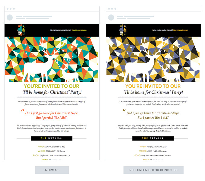 Here's a comparison of a very-colorful email would look to those with red-green color blindness