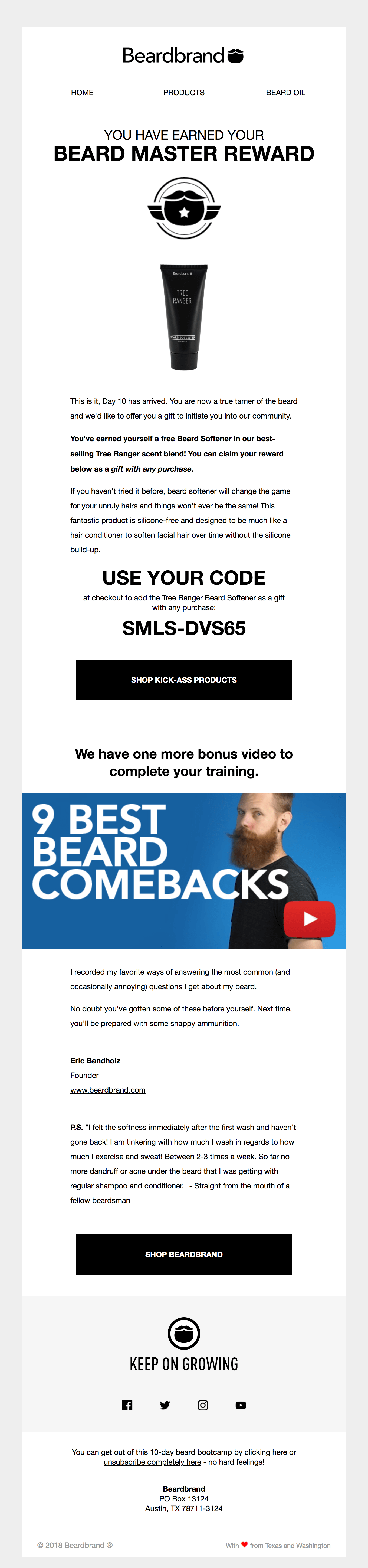 An example of an email that uses humor with icons