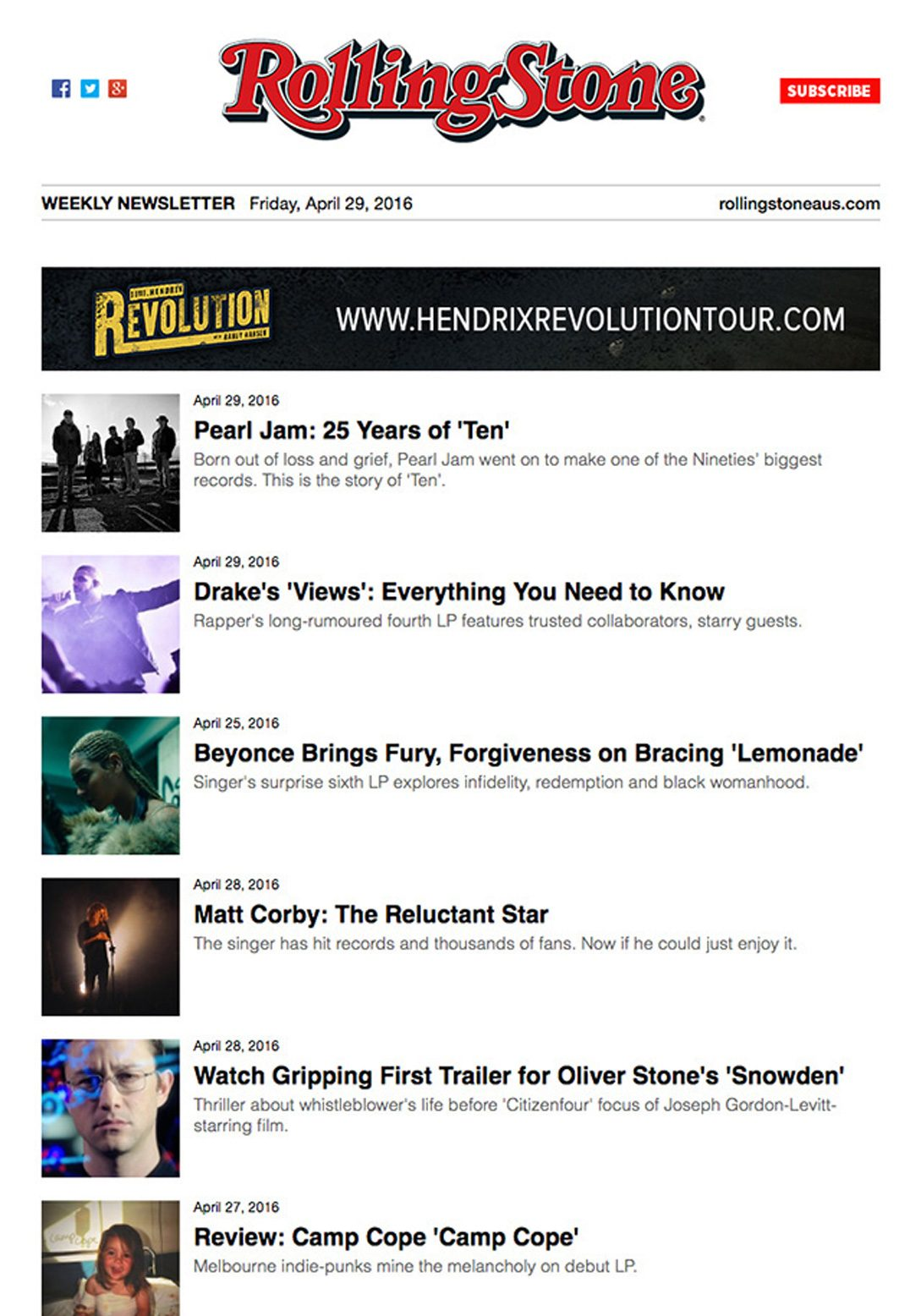 Rolling Stone – Email Newsletter – Article Roundup