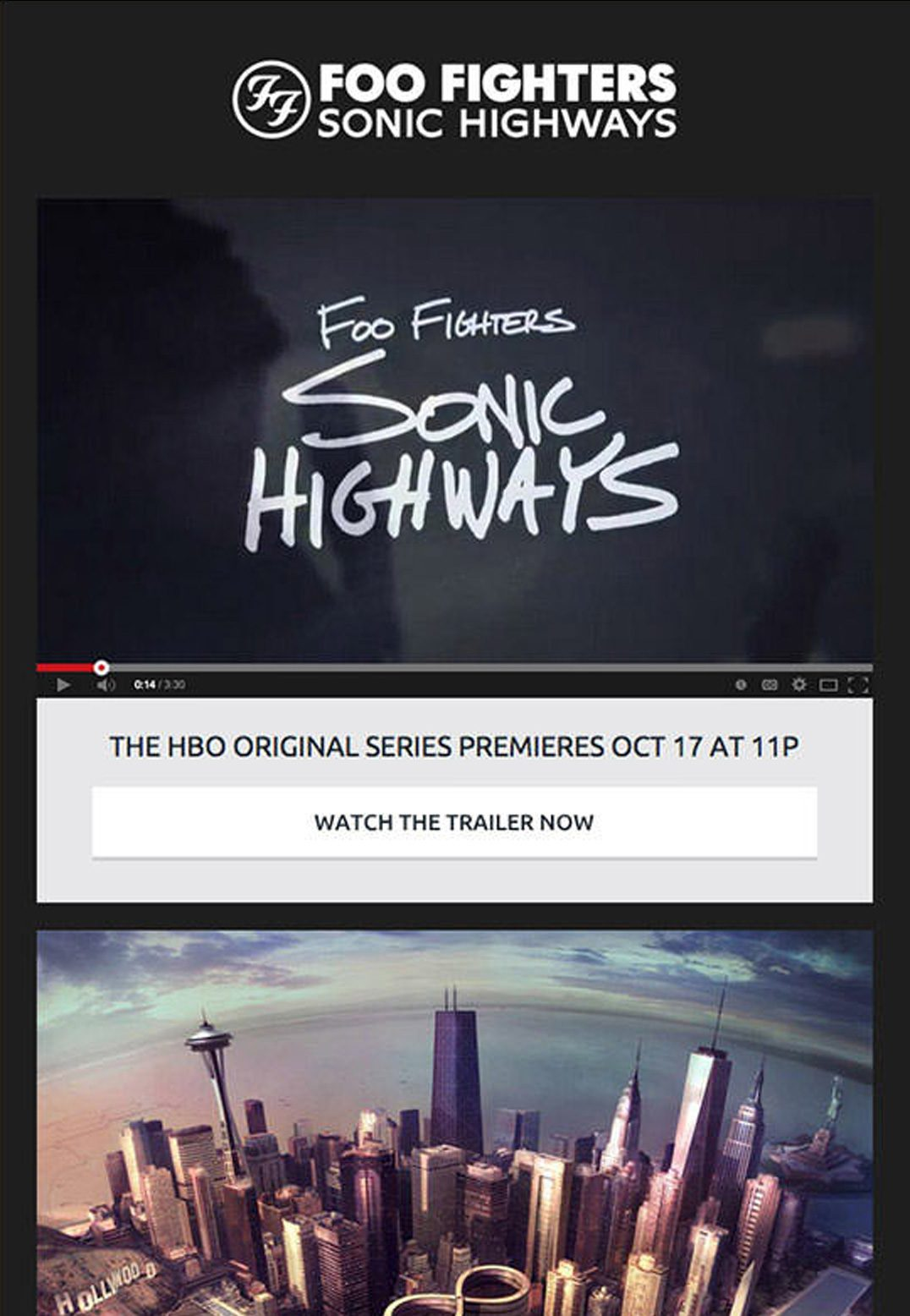 Foo Fighters is an American rock band with a thriving following. When they wanted to get the word out about their new album and HBO special, 'Sonic Highways', they turned to video email marketing.