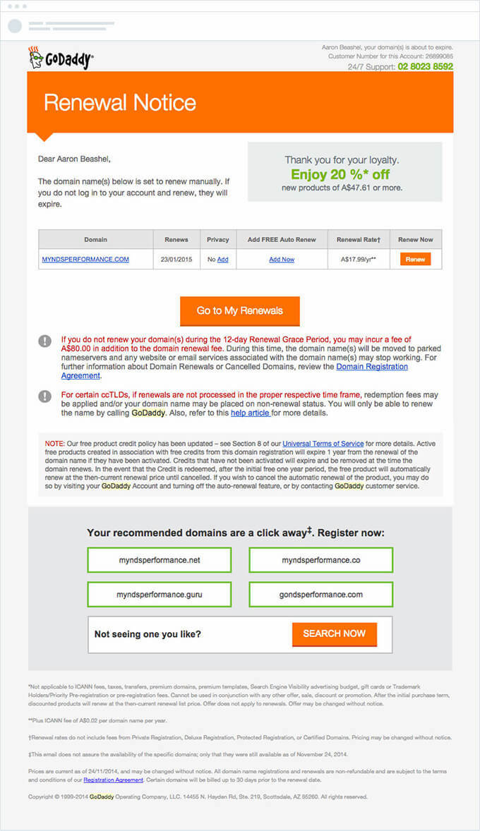 GoDaddy domain renewal notice email
