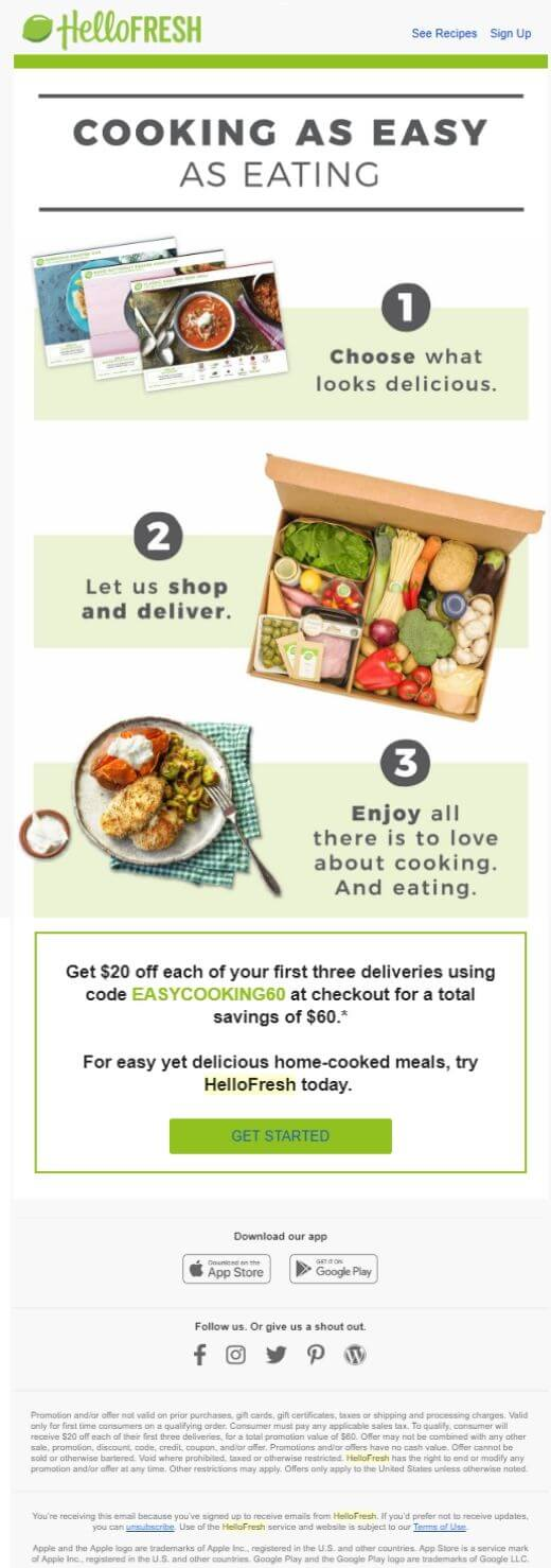 HelloFresh onboarding email