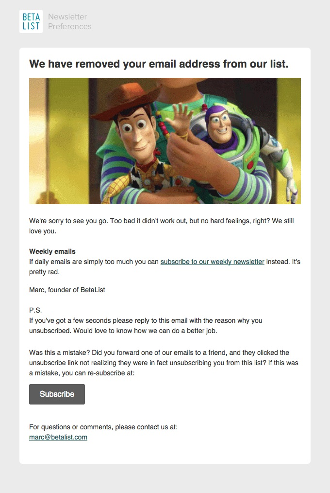 Beta List re-engagement email example