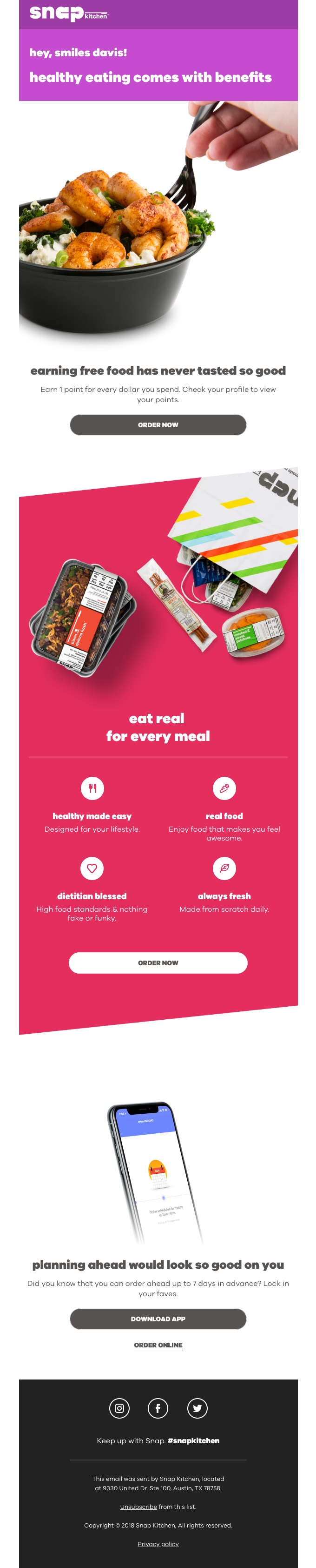 Earn Free Food Promotion with Snap Kitchen
