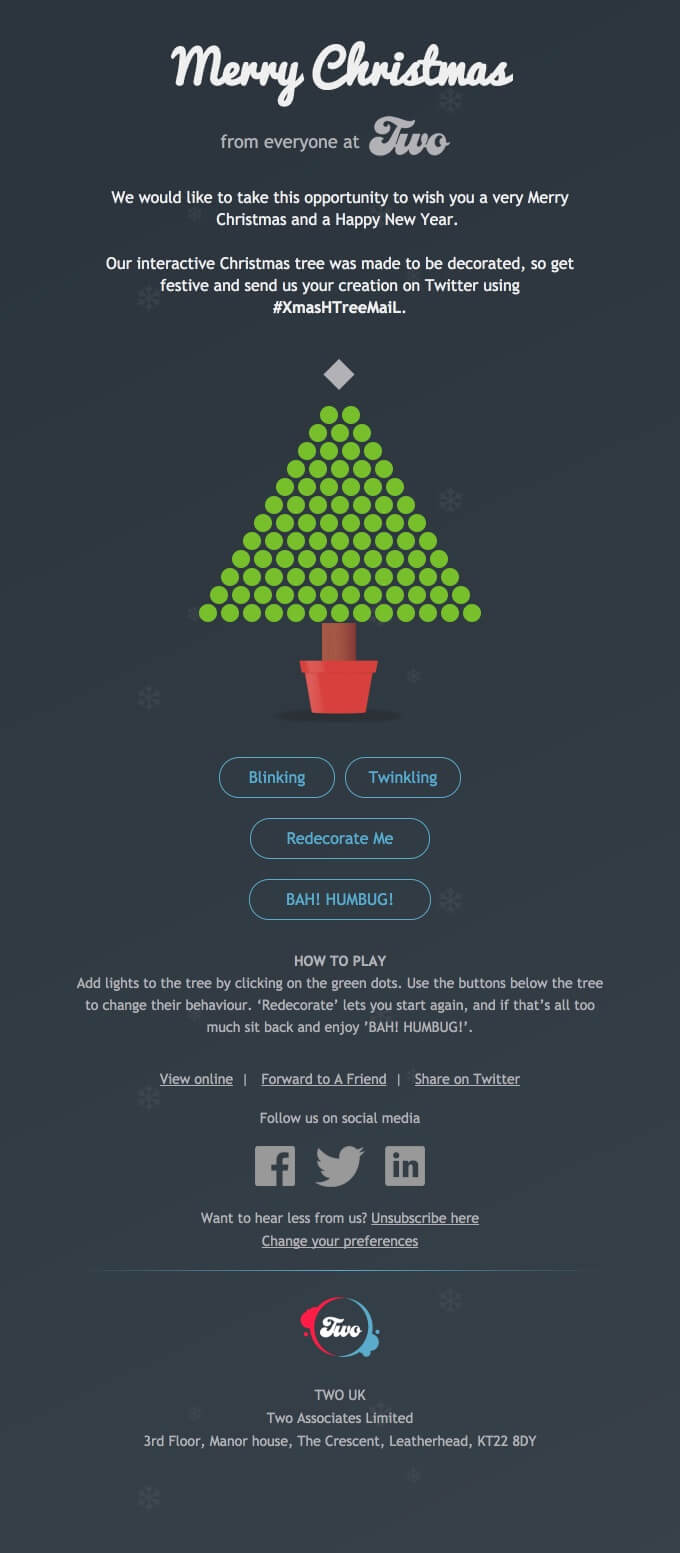 An HTML interactive email that allows users to click on the Christmas tree to decorate it