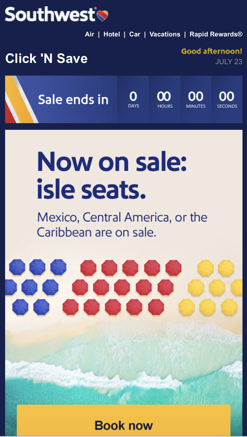 Mobile email from Southwest Airlines