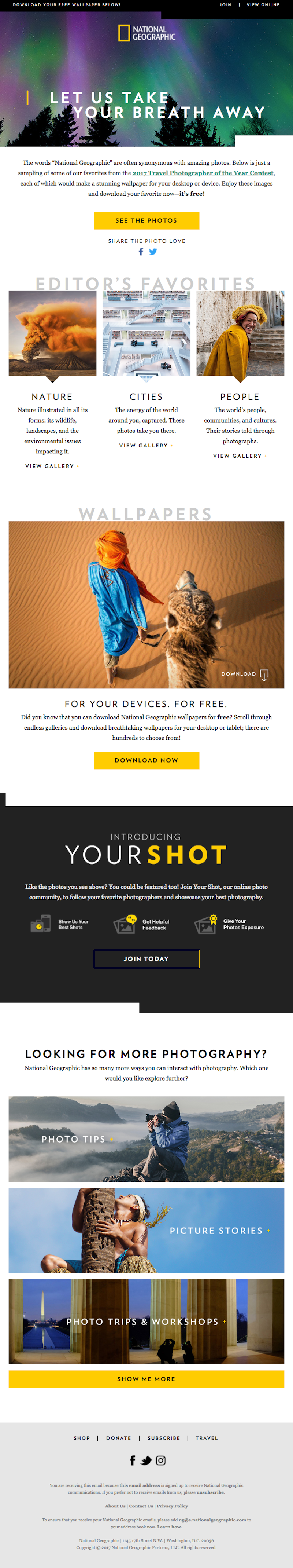 Email from National Geographic that includes links to educational content about photography