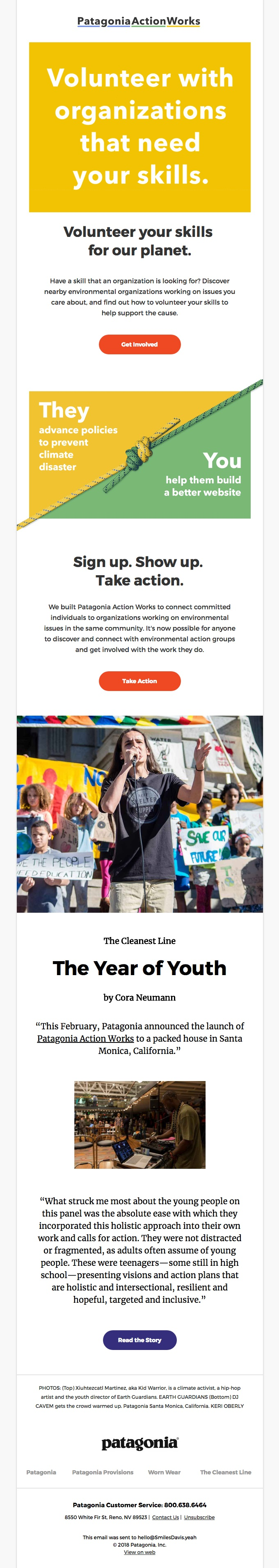 Patagonia carefully designed their email to include not only compelling copywriting and imagery, but also to include multiple CTAs, all without looking messy and uncoordinated.