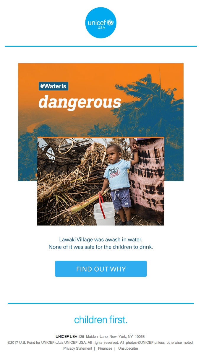 UNICEF USA makes use of powerful imagery to compel readers to learn more and make donations.
