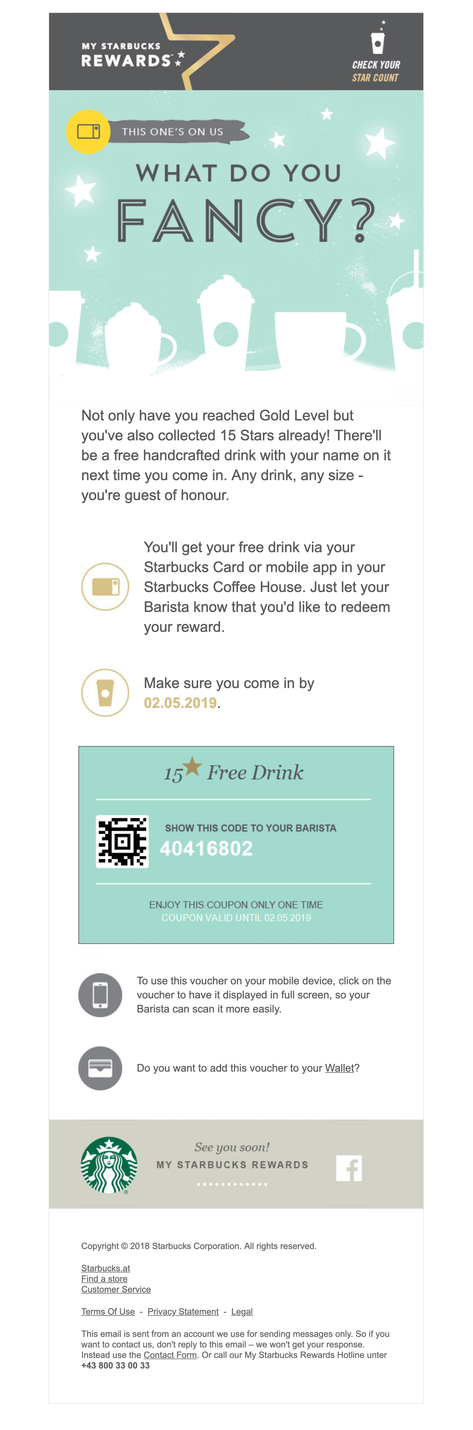 My Starbucks Rewards' coupon email campaign with a coupon expiration date