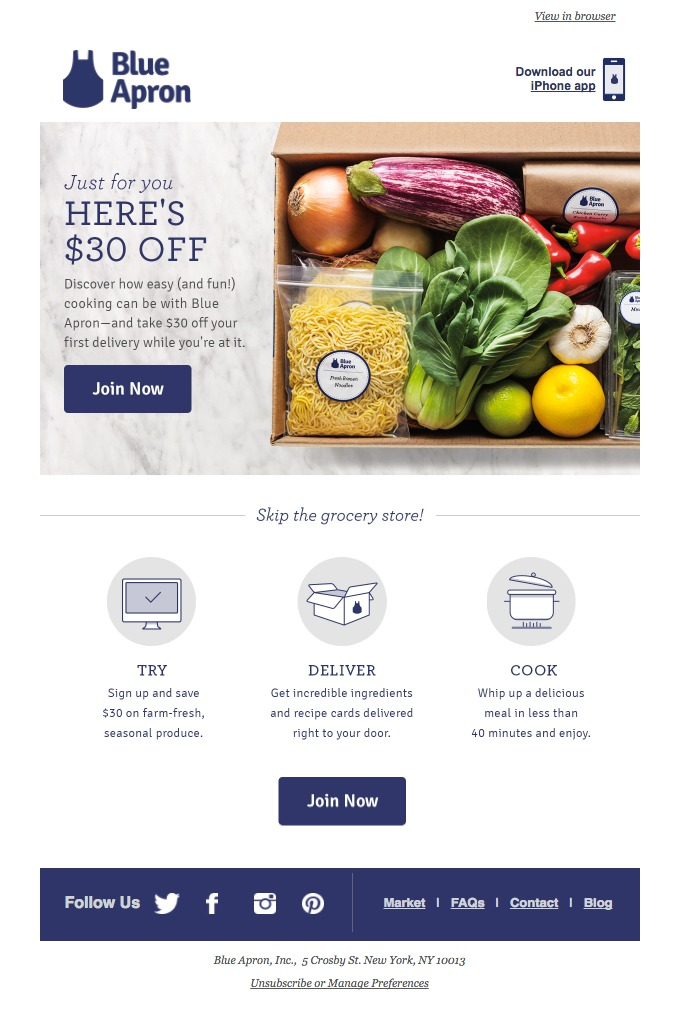 blue apron sends a coupon as incentive to get started and try their service, showing a quick 3-step process to get started
