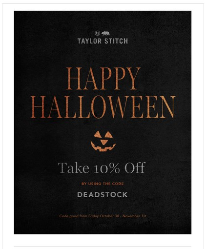 Taylor Stitch takes a minimalist approach to their Halloween email campaign.