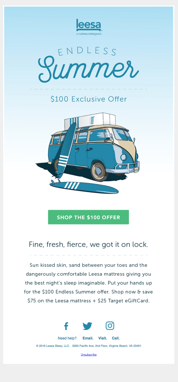 offer from mattress company Leesa giving $100 off.