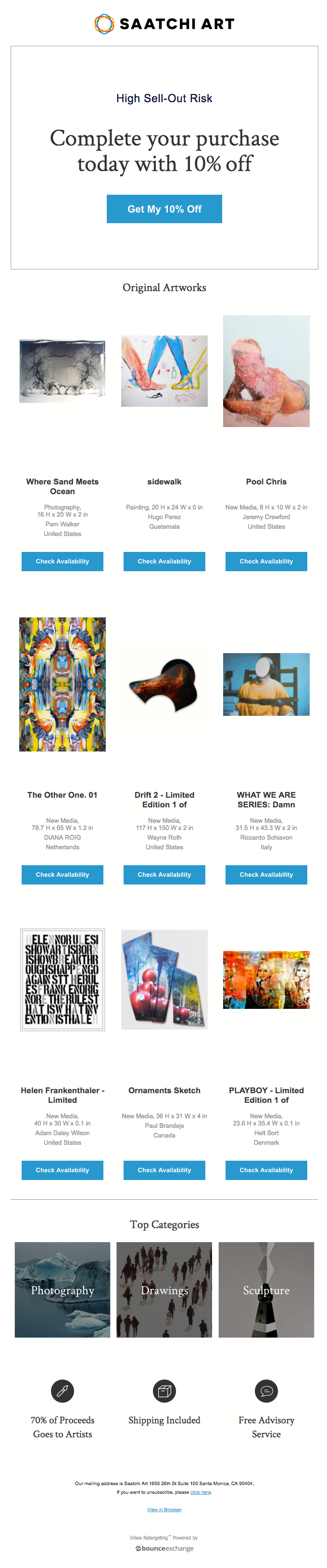 "saatchi art email with headline ""complete your purchase today with 10% off"" abandoned cart email"