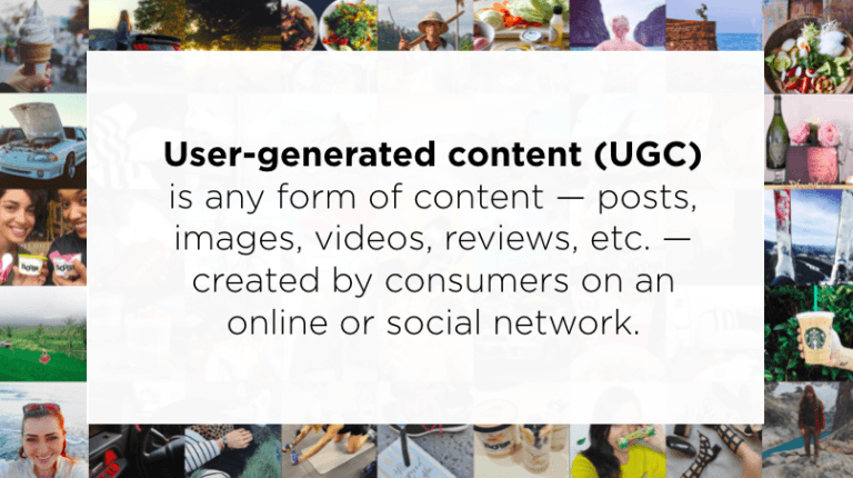 What is user-generated content? This image defines it as any form of content created by consumers online or on social media.