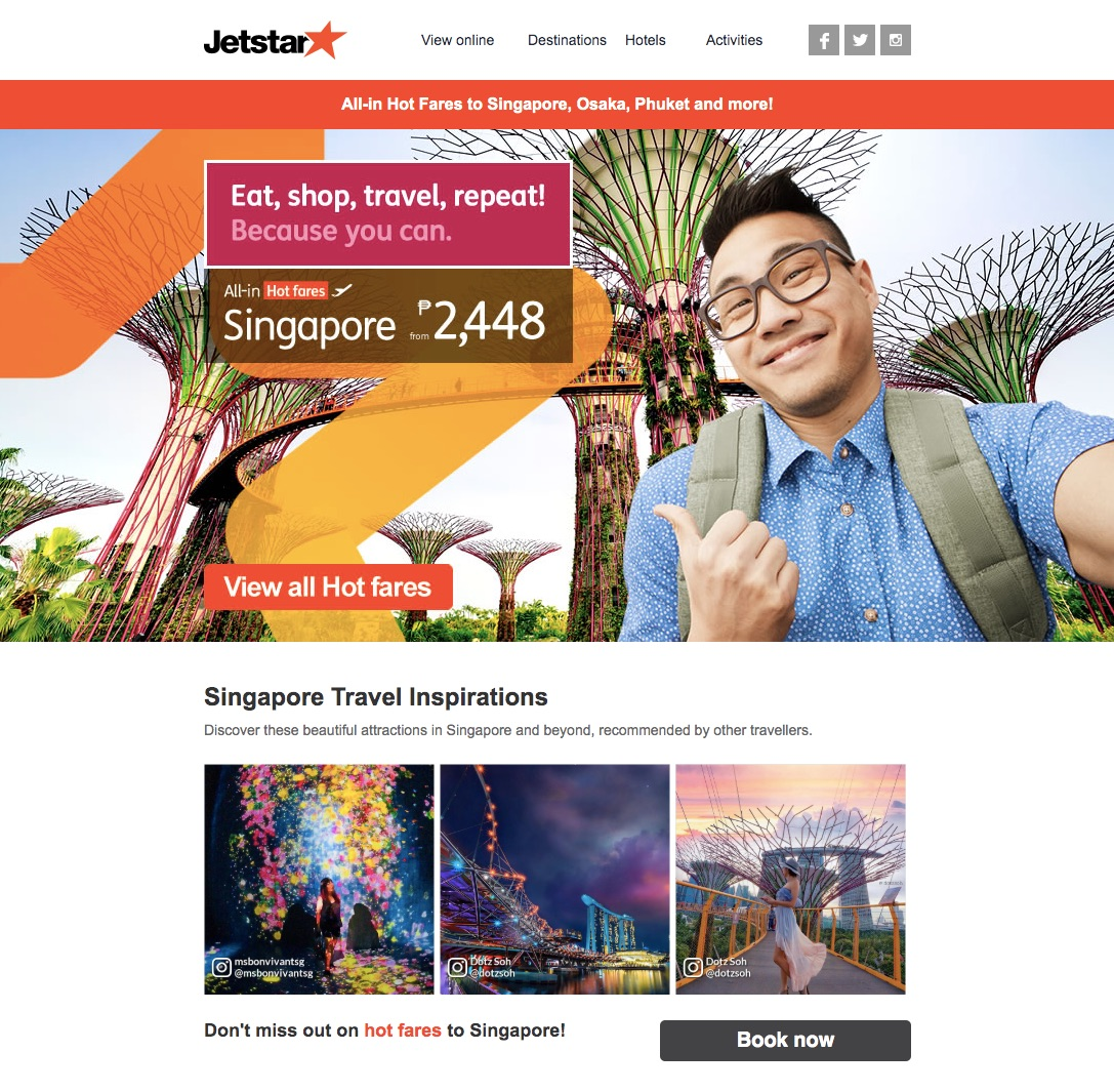 Jetstar email example with user-generated content.