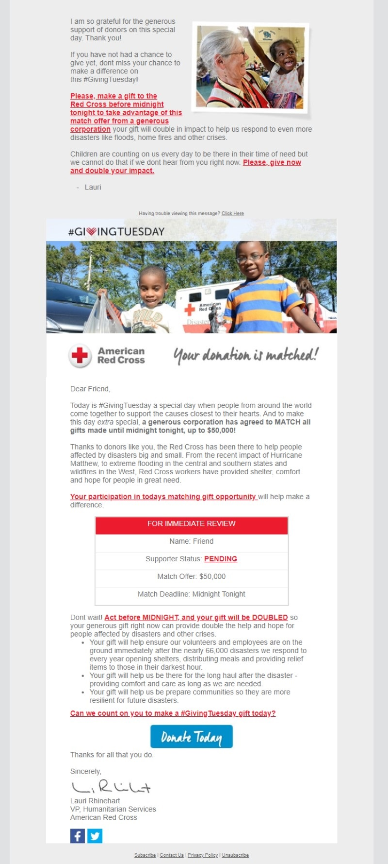 American Red Cross email showing an example of a Giving Tuesday letter from someone important