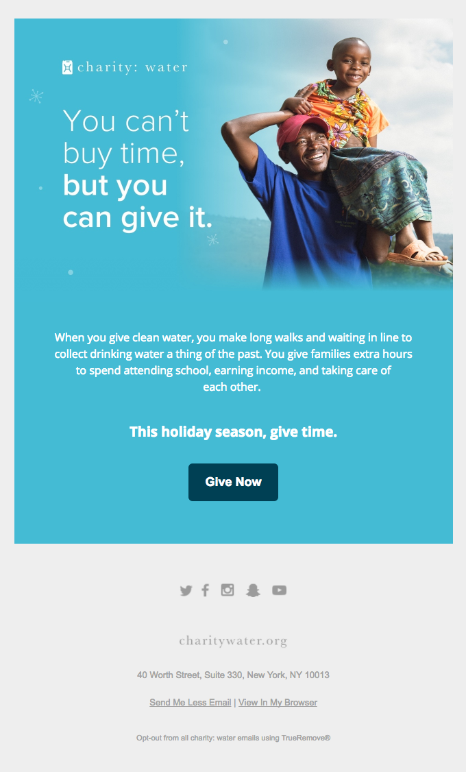 Blue advertisement showing young man and child promoting charity water event