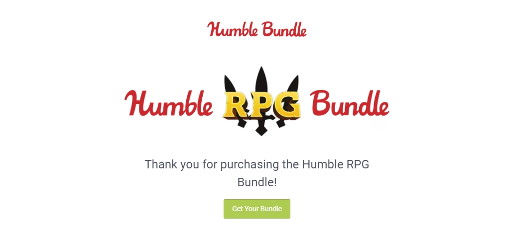 A Humble Bundle purchase confirmation email.