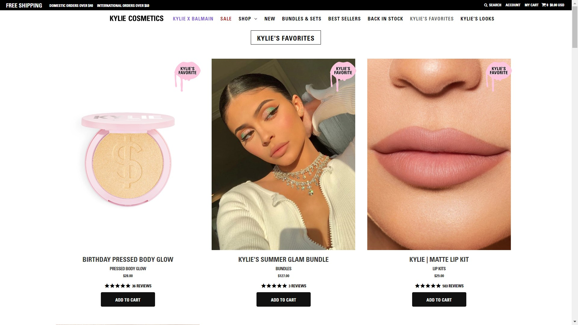 Kylie's Favorites section of the Kylie Cosmetics Shopify store