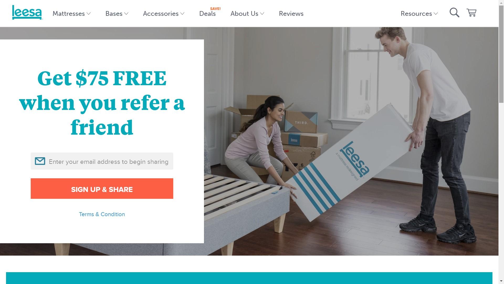 Leesa Shopify store referral program page
