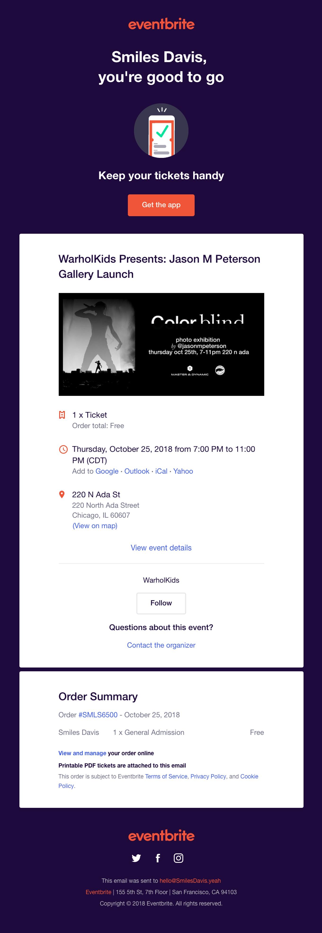 Eventbrite email confirmation